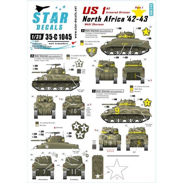 VS in Noord-Afrika 1. 1ste Pantserdivisie M4A1 Sherman