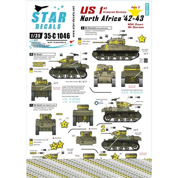 VS in Noord-Afrika 2. 1ste Pantserdivisie M4 Sherman, M3 Stuart