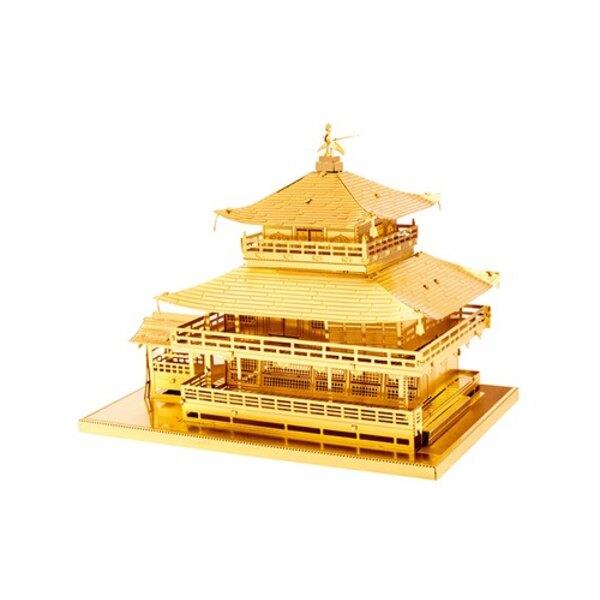 MetalEarth Architecture: GOLD KINKAKU-JI 8,9x6x6,5cm, metalen 3D-model met 3 vellen, op kaart 12x17cm, 14+