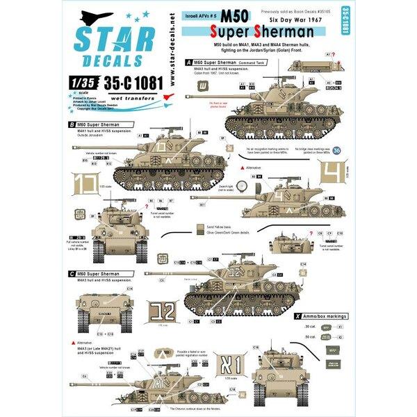Israëlische AFV's 5. Bouwen op M4A1, M4A3 en M4A4 Sherman rompen.M50 Super Sherman.Zes Dag Oorlog in 1967. Voorheen verkocht a