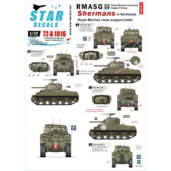 Royal Marines voor ondersteuning tanks.Kompas schalen voor 2 volledige modellen.RMASG Shermans in Normandië.Sherman Mk V.