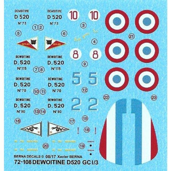 Sticker Dewoitine D 520 GC I / 3: S / Lt Hubert de Salaberry