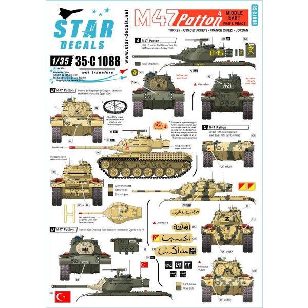 M47 Patton 4. Oorlog en vrede in het Midden-Oosten.Turkije, USMC, Frankrijk (Suez) en Jordanië.