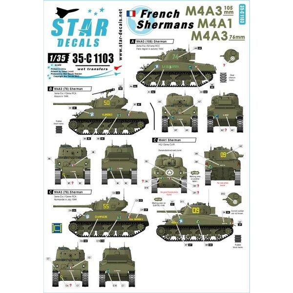 Franse Shermans 2. M4A3, M4A3 105mm, M4A3 76mm.501e RCC, 12eme CUIR, 12eme RCA.