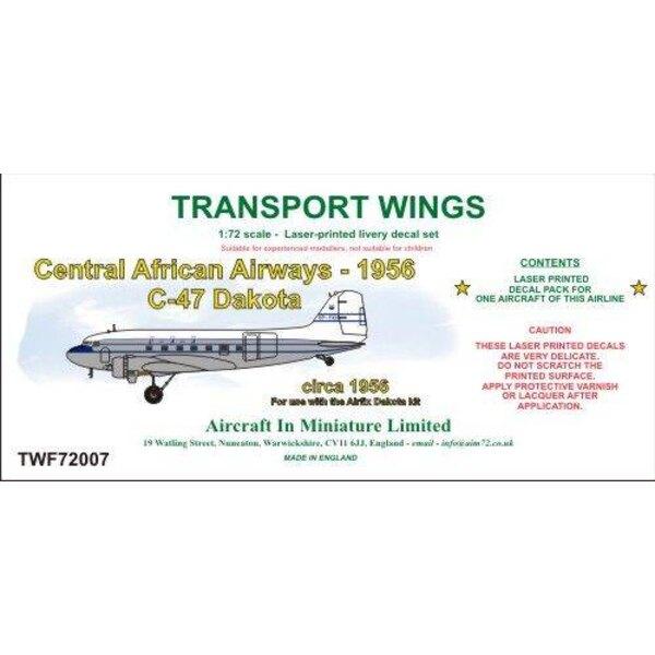 Sticker Central African Airways C-47 Dakota (circa 1956) decal set