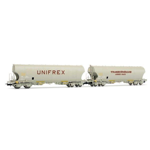 Set van 2 Unifrex en Arbel-Rail graanwagens met gebogen zijwanden SNCF tijdperk IV
