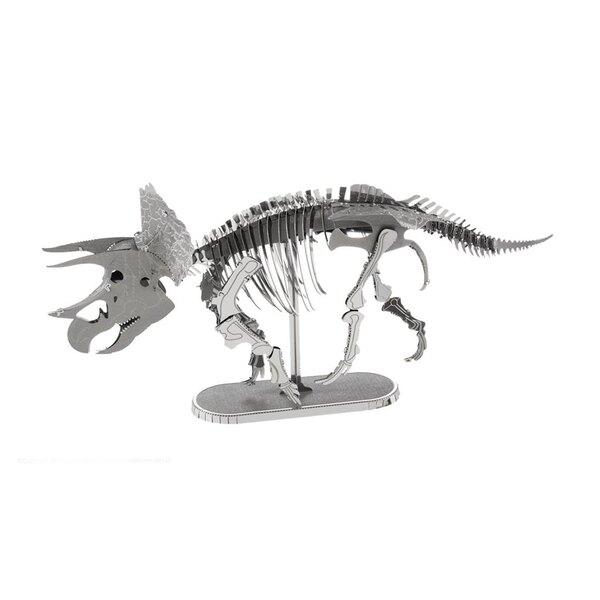 MetalEarth Dinosaurs: TRICERATOPS SKELETTE, metalen 3D-model met 2 vellen, op kaart 12x17cm, 14+