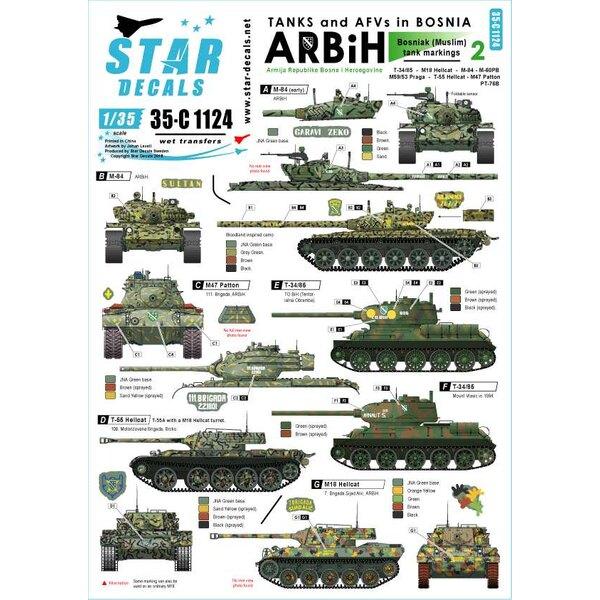 ARBiH (moslim).Sovjet T-34/85, M18 Hellcat, T-55 / Hellcat, M-84, M-60PB, M53 / 59 Praga, PT-76B, M47 Patton.Tanks & AFV's in B