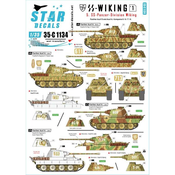5. SS-Panzer Division Wiking.Panther Pz.Kpfw.V Ausf.D en Ausf.A.Kp.5/6/7 / 8.SS-Wiking 1.