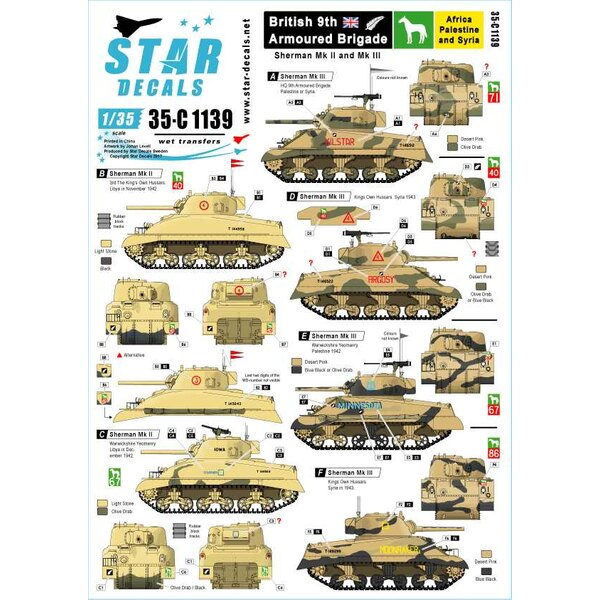 Sherman Mk.II en Mk.III in Noord-Afrika en het Midden-Oosten van 1942-43.HQ 9th A.Bde, Kings own Hussars, Warwickshre Yeomanry,