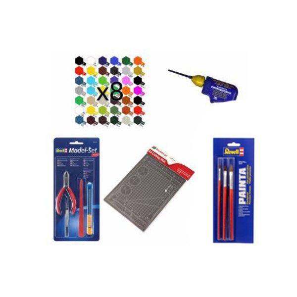 Accessoirespakket : 8 soorten verf, 3 penselen, lijm, kniptang, snijdtang, cutter en snijmat, pincet, veiligheidsmes, vijl 1001h