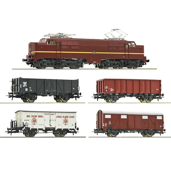 5 piece set: Electric locomotive 1224 with freight train, NS