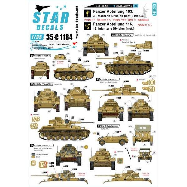 Fall Blau en Stalingrad 2. Pz-Abt.103 / 3. Infanterie Divisie (woord) en Pz-Abt.116 / 16. Infanterie Divisie (mot.) 1942-43.Au