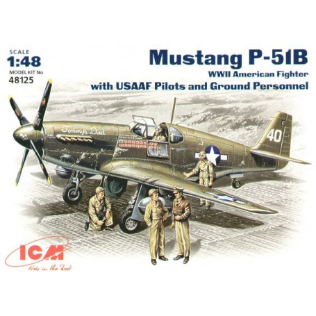 North American P-51B Mustang USSAF with USAAF Pilots and Ground Personnel