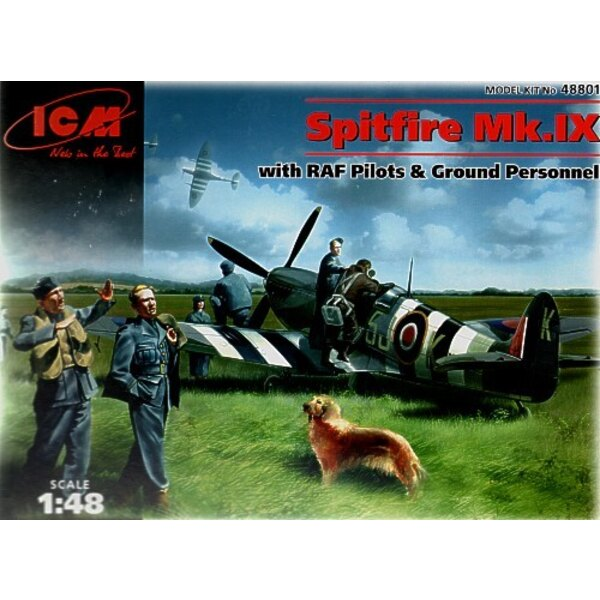 Supermarine Spitfire with Pilots Ground crew airfield equipment and a dog
