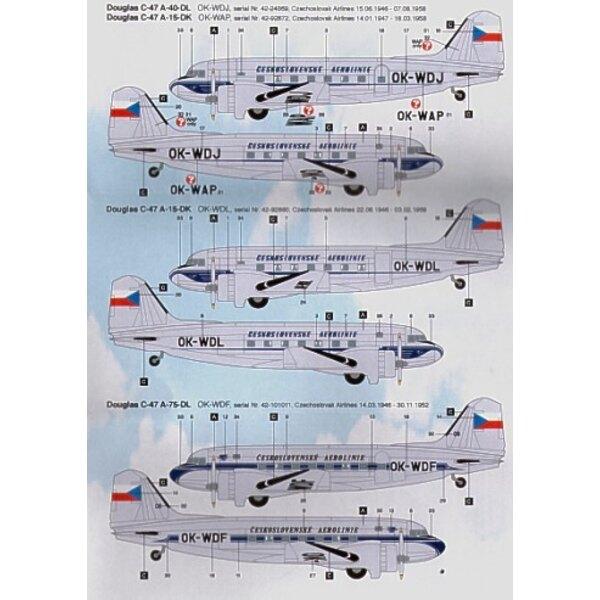 Sticker Douglas DC-3/Douglas C-47 Dakota CZECHOSLOVAK Airlines OK-WDJ/WDL/WAP/WDF