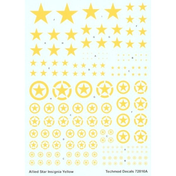 Allied Yellow ID Stars 3 styles with or without outline circle in 9 sizes