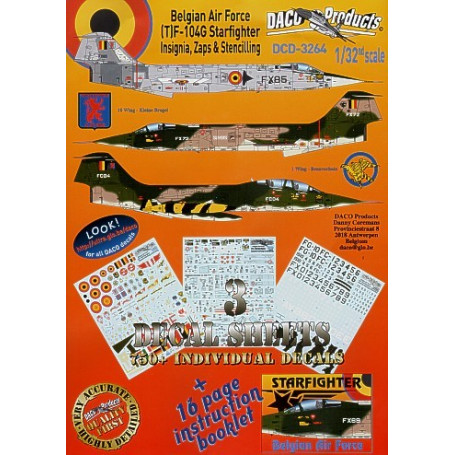 Sticker Lockheed F-104/Lockheed TF-104G Starfighter Zappings and Stencilling Belgian Air Force Insignia