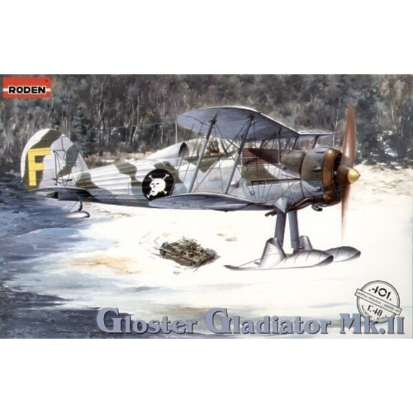 Gloster Gladiator Mk.II/J8. Includes both 2 and 3 blade propellers, skis and wheels. Decals Finland (GL-255 and GL-269) and the