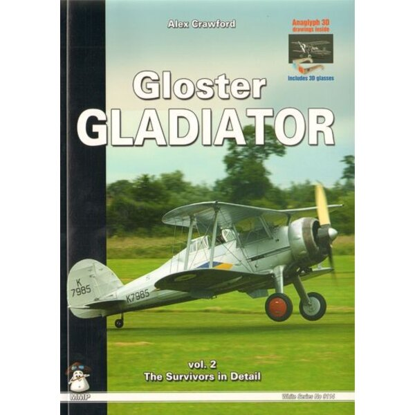 Boek Gloster Gladiator. Anaglyph 3D drawings includes 3D glasses