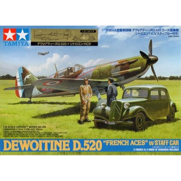 Dewoitine D.520 with Citroen Traction 11CV Staff Car. Plus 1 seated pilot figure, 1 standing pilot and officer figure (total of
