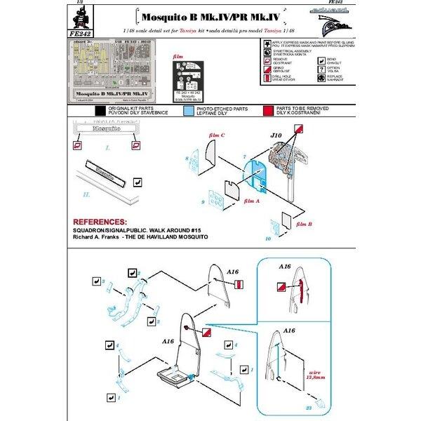 de Havilland Mosquito Mk.IV/PR Mk.IV PRE-PAINTED IN COLOUR! (toebehoren voor modelbouwsets van Tamiya TA61066) This Zoom set is