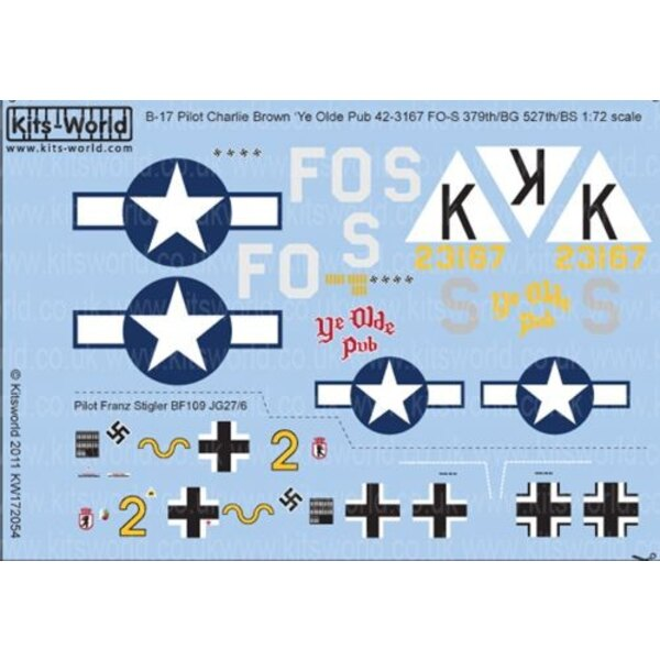 Sticker Boeing B-17F Fortress 42-3167 FO-S 527thBS/ 379thBG Capt Charlie Brown 'Ye Olde Pub'; attacked by Messerschmitt Bf 109G