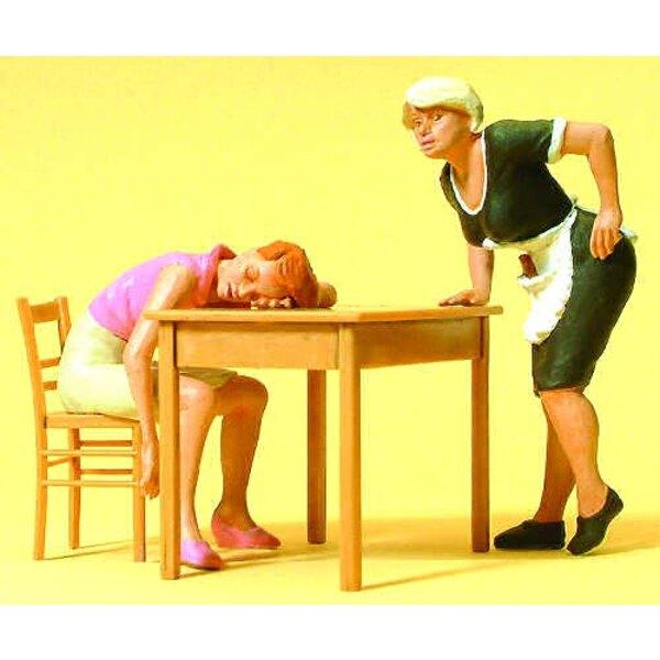 Consumer asleep waitress +