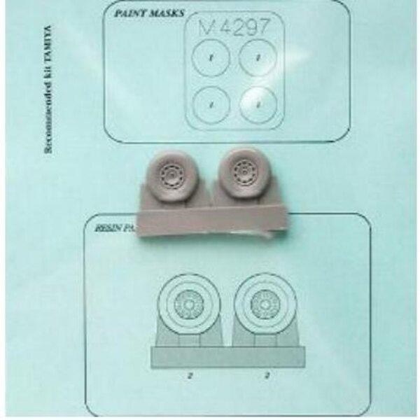 Dewoitine D.520 wheels and paint mask (toebehoren voor modelbouwsets van Tamiya)