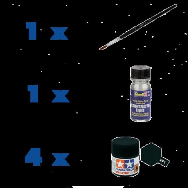 Accessoirespakket : 4 soorten verf, penseel en lijm 1001hobbies PACK-ACC