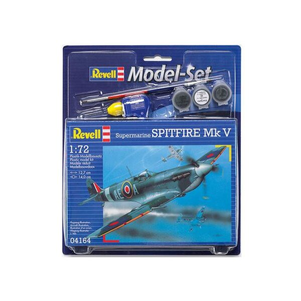 Spitfire Mk.V Model Set - box containing the model, paints, brush and glue