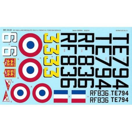 Sticker De Havilland Mosquito FB Mk VI in French Service : RF836 code 6 - GC I/6 'Corse' Rabat (Morocco) 1947-48, TE794 code 33