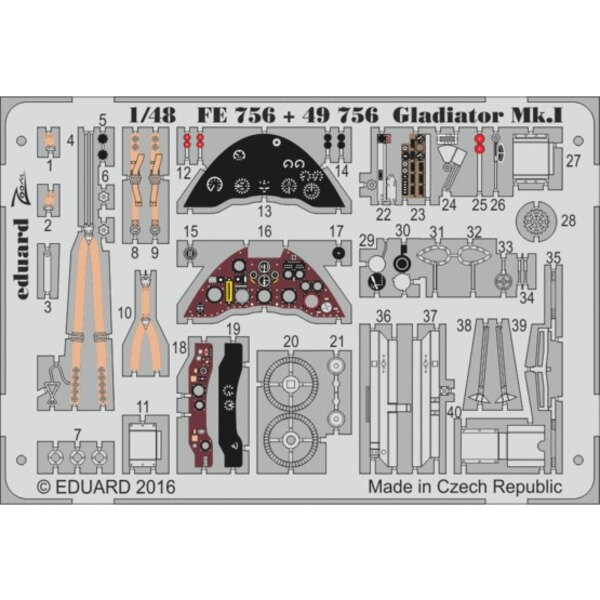 Gloster Gladiator Mk.I interior (designed to be used with Merit kits) 'Zoom' sets are simplified versions of the larger sets and