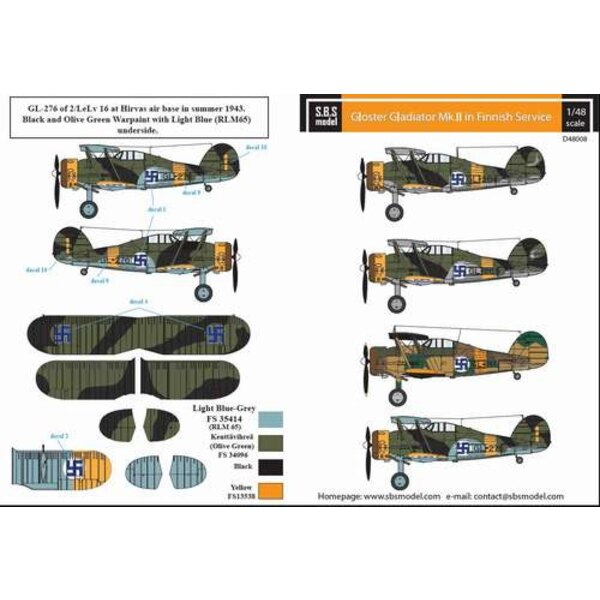 Sticker Gloster Gladiator Finnish Air Force WWII decal sheet