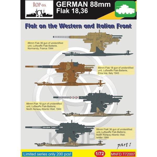 Duitse 88mm Flak 18,36 - Flak aan het Westelijk Front en Italië voorste deel 1