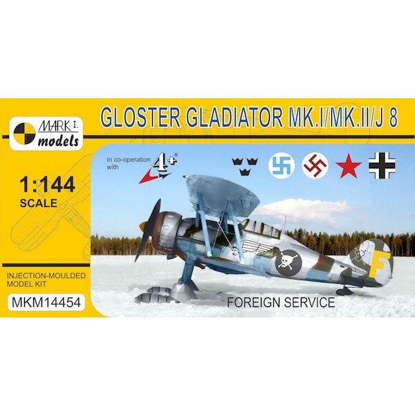 Gloster Gladiator Mk.I / II / J 8 'Foreign Service' (Zweedse AF, AF Letse, de Sovjet-AF, Luftwaffe) De Gloster Gladiator was een