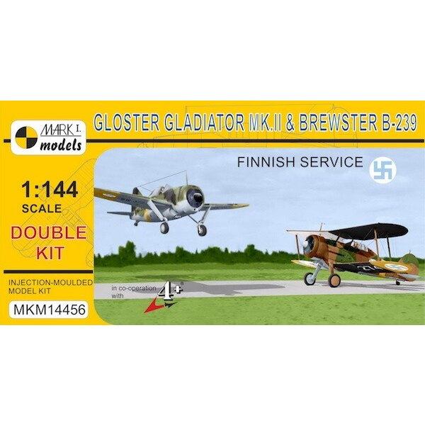 Gloster Gladiator Mk.II & Brewster B-239 Buffalo 'In Finse Air Force' (dubbele kit) (Finland) De Buffalo vechter werd ontworpen